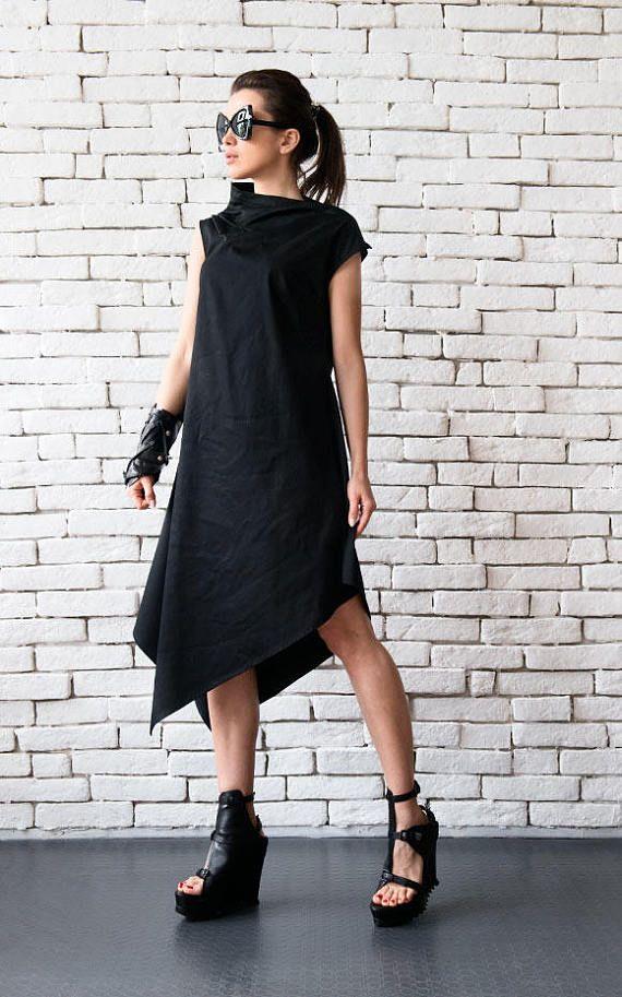 64ae9922bac3 Sciolto tunica nera vestito asimmetrica abito senza maniche Party ...