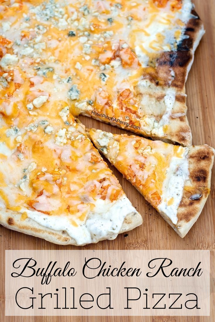 Step by step instrucitons and recipe to  make buffalo chicken ranch pizza on your grill. Once you are done you are going to want to pair this pizza with an easy pasta salad, a little extra ranch dressing for dipping the crust. Buffalo Chicken Ranch Grille