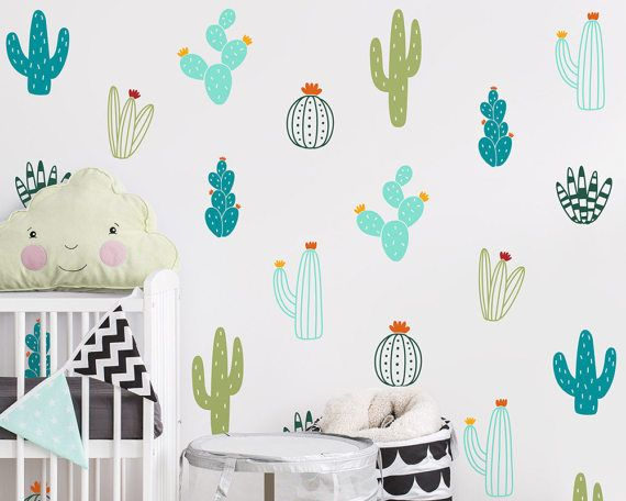 Cactus Wall Decals  Colorful Cacti Wall by KennaSatoDesigns