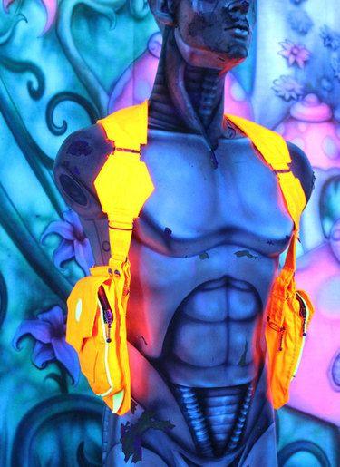 psychedelic fashion uv reactive schwarzlicht vest holster