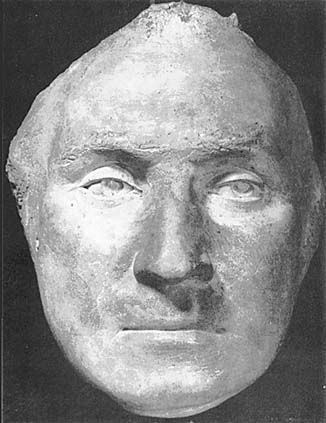 The Real Face of George Washington: Front View. Life mask made in 1785 by French sculptor, Jean Antoine Houdon when Washington was 53 years old.