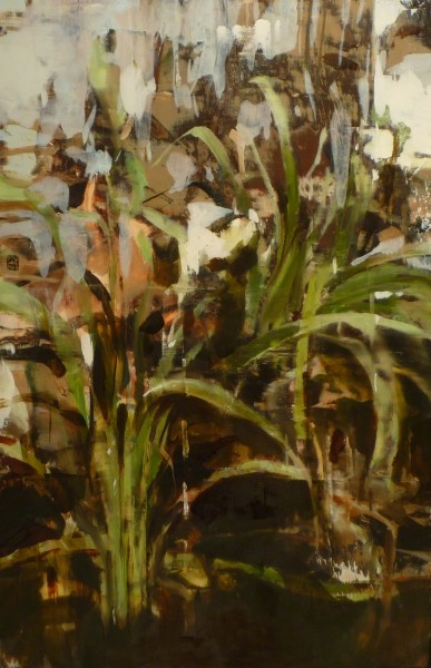 Alex Kanevsky, Lilies, oil on board, 16 x 10 inches