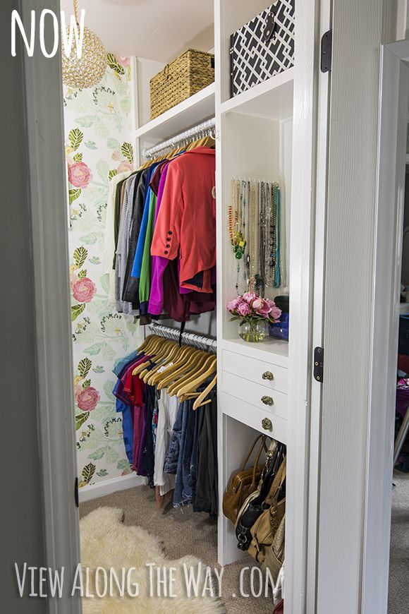 DIY closet makeover on a tiny budget!  Want to do this in my tiny walk-in closet.