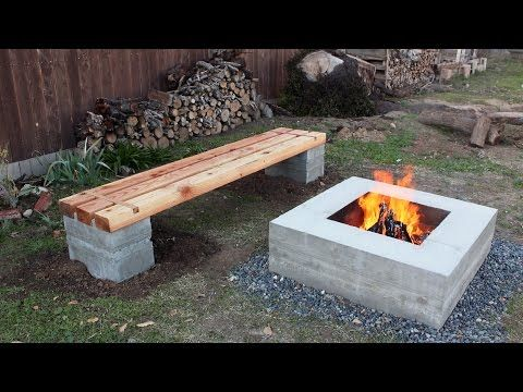 Learn How To Make This Outdoor DIY Concrete Fire Pit And Bench From Ben  Uyeda Of