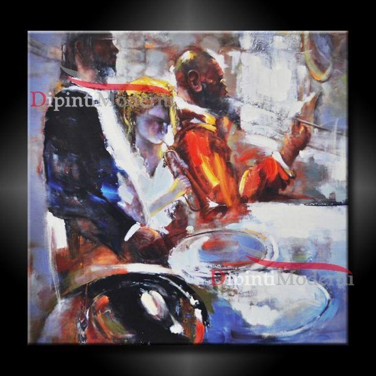 Quadro con musicisti dipinto a olio su tela quadri for Dipinti a mano su tela