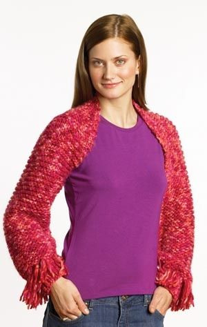 Fringed Shrug - free pattern from Lion Yarn.  I probably wouldn't make this with the fringe.