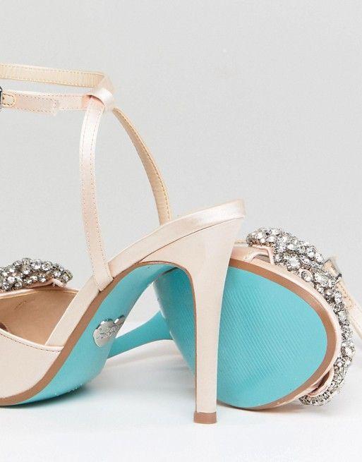 b44b8ba04c6 Blue By Betsy Johnson Satin Heidi Bow Heeled Wedding Sandals in 2019 ...