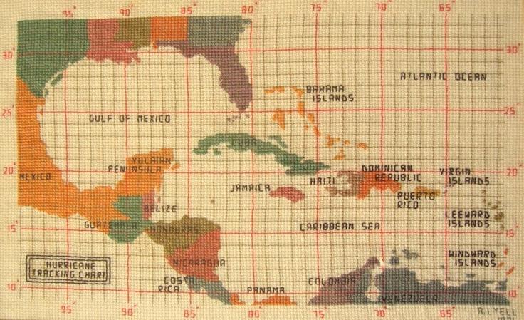 Hurricane Tracking Map Cross Stitch Pattern. $8.95, via Etsy.