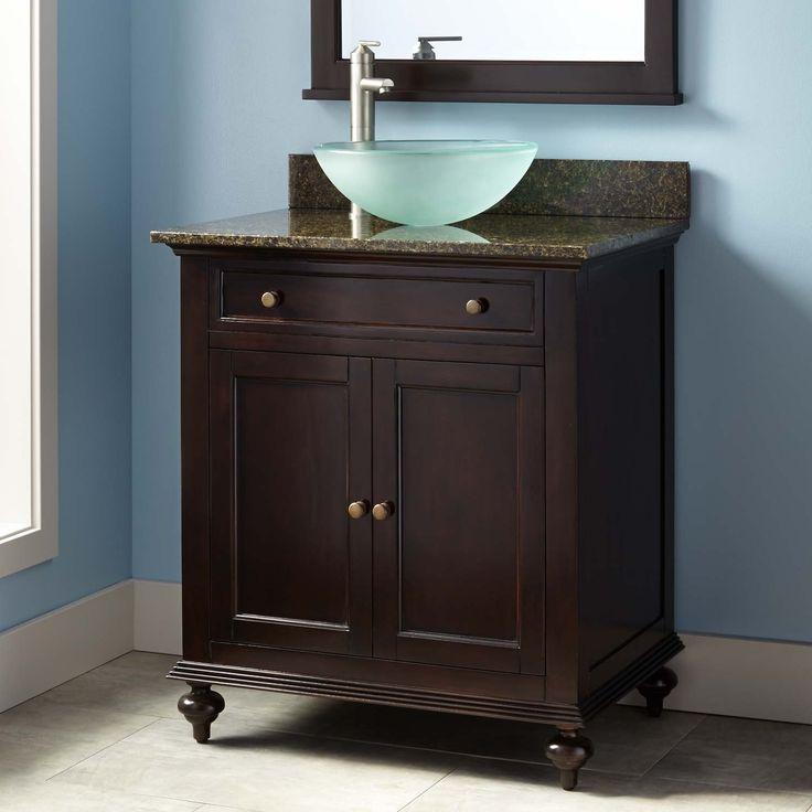 """Powder Room Bathroom Vanities: 30"""" Keller Mahogany Vessel Sink Vanity"""