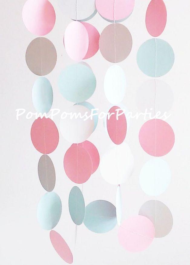 Geburtstag - Papier Girlande - Blau/Silver/Rosa - Baby shower - ein Designerstück von PomPomsTeam bei DaWanda