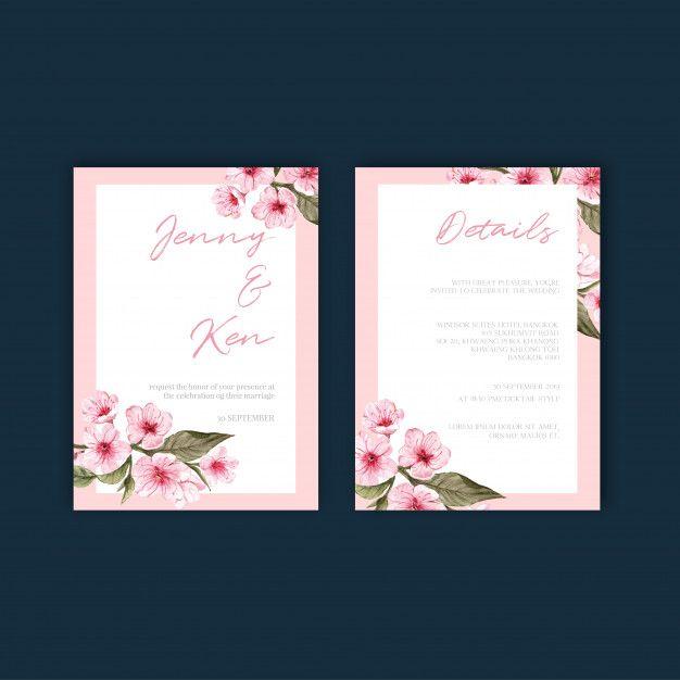 Floral Weeding Card Set Free Vector Free Vector Freepik