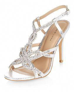 e831088aa34 Silver Diamante Strappy Heels