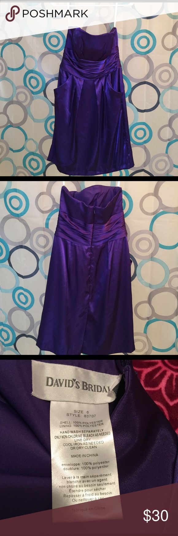"David""s Bridal dress purple with pockets size 6 David""s Bridal dress purple worn once with pockets nice zip back David's Bridal Dresses Strapless"