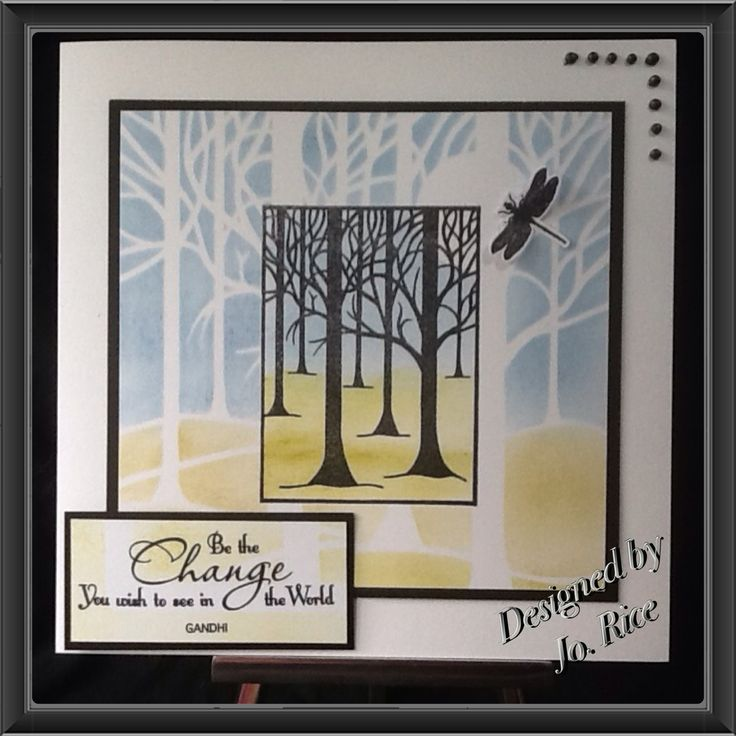 Great card that uses the tree stamp I own.  Uses Clarity stencil, Stamps and inks....