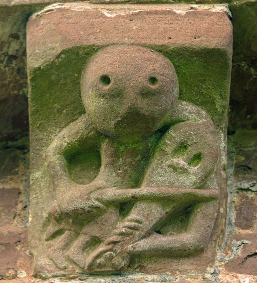 "Kilpeck Church, Herefordshire, 1140 AD. ""A fiddle player who looks suspiciously like the sheela-na-gig's brother also symbolises low morality. Well we all know the devil has the best tunes!"" Simon Jenkins"