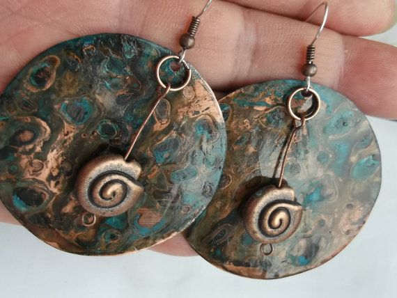 FREE SHIPPING  turquoise patina  on the copper Boho by fripperyart