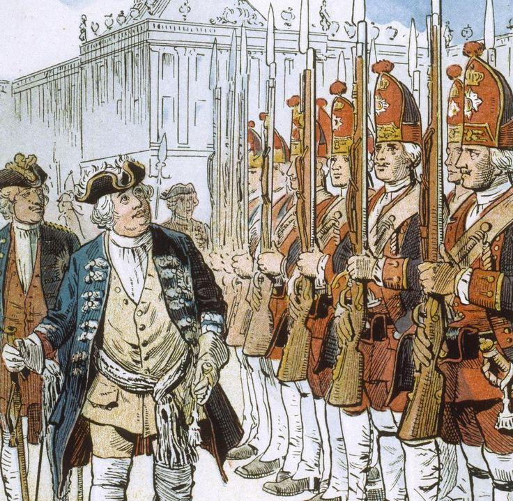 Friedrich I (genannt der Soldatenkönig) von Preussen und seine Langen Kerls.