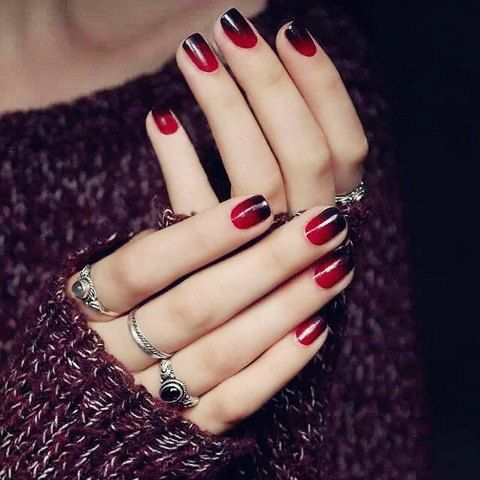 Stylish 24 PCS Gradient Red Black Nail Art False Nails - The 25+ Best Red Black Nails Ideas On Pinterest Red Nails, Polka