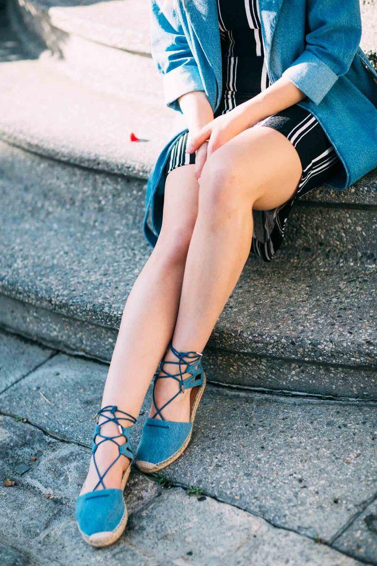 Kentsel Bliss Denim Hendek, Çizgili Vücut Con askısız elbise Shilla Etiket…