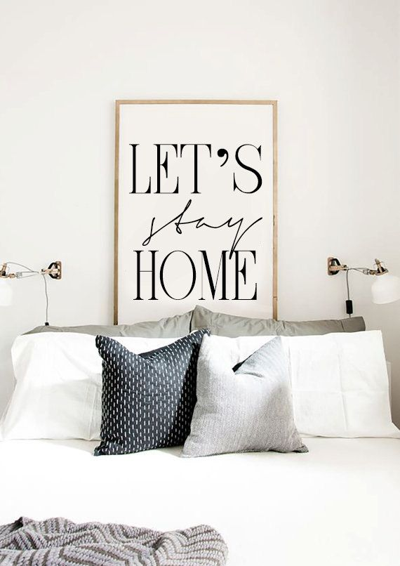 Lets stay home printable bedroom poster scandinavian poster entryway print affiche scandinave
