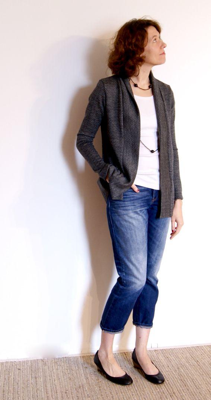 Patron de couture de gilet col châle Cannelle pdf à télécharger de christelle Beneytout à coudre à la surjeteuse