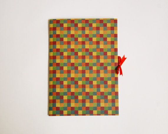 square pattern handmade kraft notebook with ribbon
