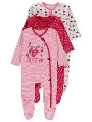 3 Pack Heart Print Sleepsuits