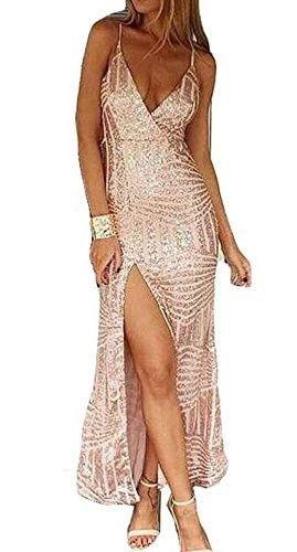 Missord Women's Sleeveless V Neck Sequined Maxi Prom Dress with Side Split