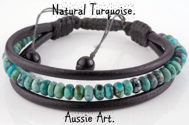B-451 Genuine Natural Turquoise & Leather Adjustable Wristband Bangle Bracelet.