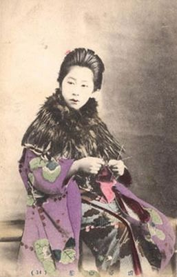 Japanese woman knitting, circa 1895