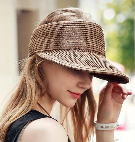 Hats Women Wide Large Brim Summer Beach Sun Button Cap Anti-uv Visor Wear Female