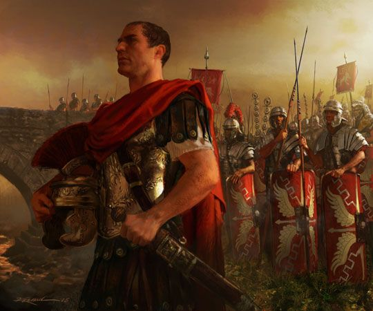 Julius Caesar crosses the Rubicon. Art for the CCG Anachronism. by Michael Komarck ©2005 triking games