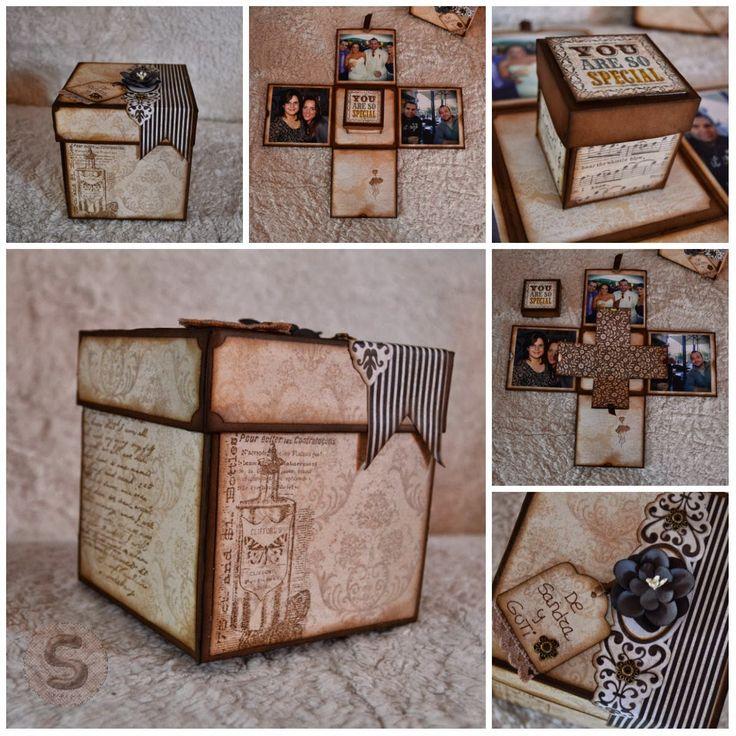 Scrap paso a paso caja explosiva para regalar dinero de - Regalos originales hechos a mano ...