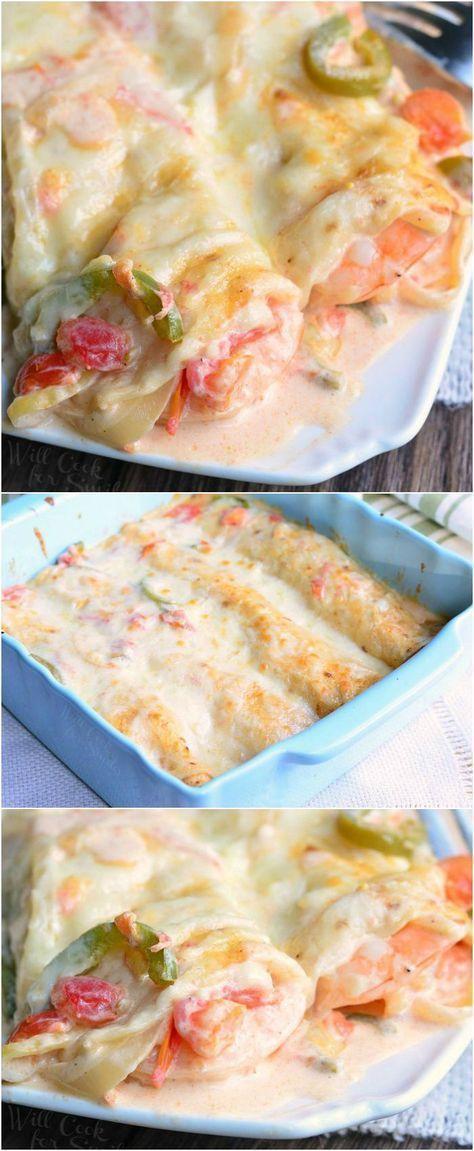 Spicy Creamy Shrimp Enchiladas | from http://willcookforsmiles.com #dinner #enchilada #seafood