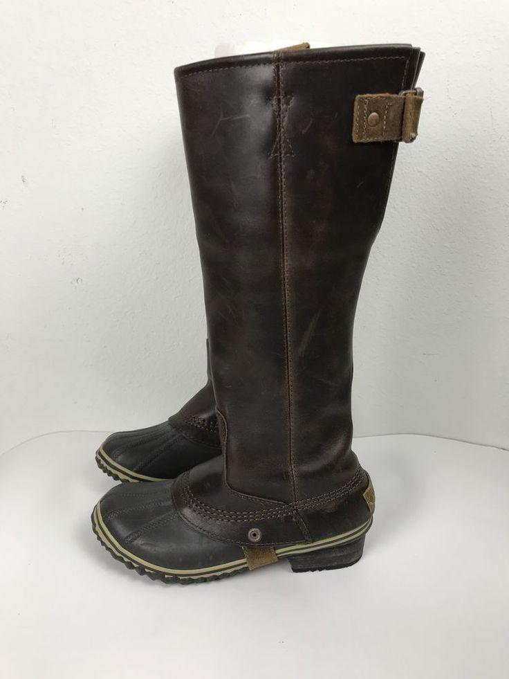 Womens Sorel Duck Boots Tall Knee High US 6.5 Euro 37.5 Leather Brown #Sorel #KneeHighBoots