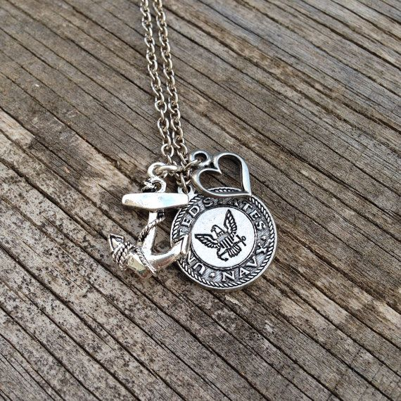 U.S. Navy Necklace / Navy Wife / Navy Girlfriend / Navy Mom / Navy Sister / JROTC / silver / beads / charms on Etsy, $28.50