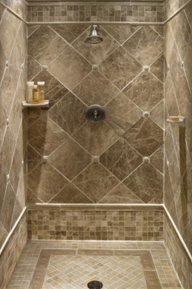 Tile ideas for downstairs shower stall for the home Floor tile design ideas for small bathrooms