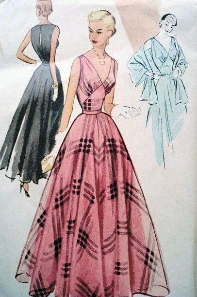 1950s BEAUTIFUL EVENING GOWN DRESS SLIP and STOLE PATTERN LOW V NECKLINE McCALL 8437 Vintage Sewing Pattern