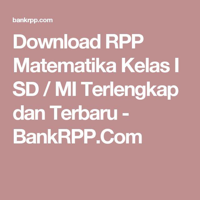 Download RPP Matematika Kelas I SD / MI Terlengkap dan Terbaru - BankRPP.Com