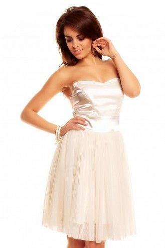 Koktajlowa sukienka z tiulu Km114-3 kremowa