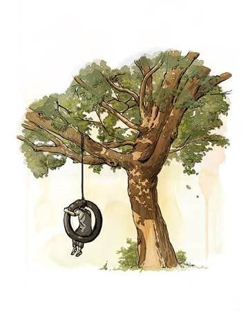 """From an upcoming graphic novel version of """"To Kill a Mockingbird,"""" Scout in a tire-swing."""