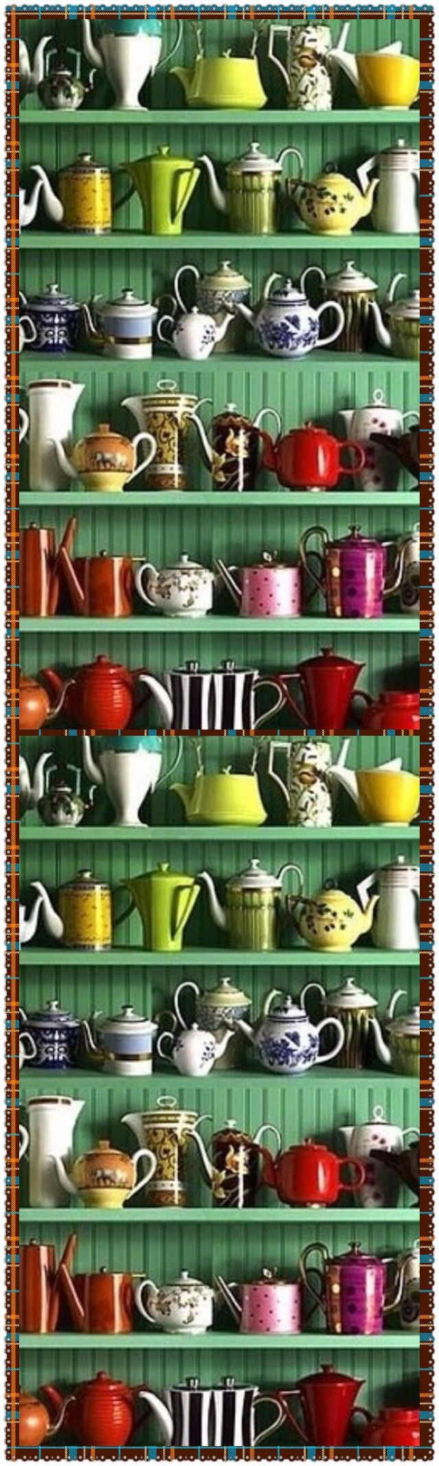 Had to re-pin this...because I've got a baker's rack slap-full of tea pots and tea cups, and this reminded me of it!