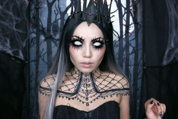 "She's beautiful... She's Wicked... She's the ""Queen of Darkness"". @dope2111 provides a cool makeup tutorial for this effect. I especially love how the lashes look. And pairs beautifully with white lace FX contact lenses which you can find here on our pinterest board here => https://www.pinterest.com/pin/350717889705763104/"