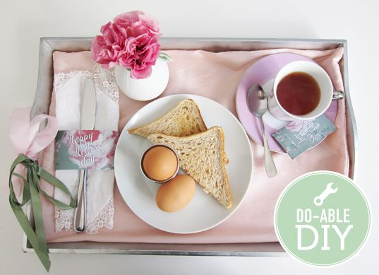 Mother's day breakfast in bed. Designed by Bianca Packham for The Pretty Blog. #tea tags #mother's day