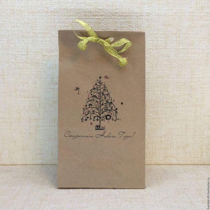 Купить Крафт-пакет с рисунком 12х24 см - бумажный пакет, пакет для мыла, пакет для подарка