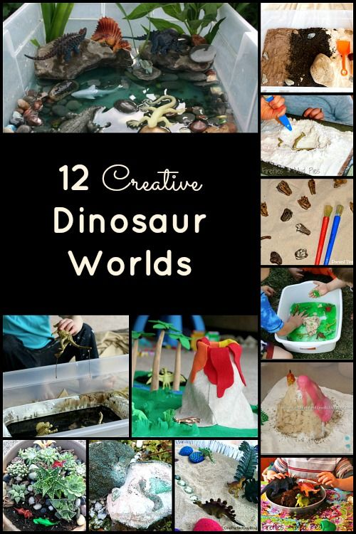 Dinosaur Activities for Kids...12 Creative Dinosaur Small Worlds and Sensory Bins - I am not keen on the idea of putting liquid (water or whatever else) on toy animals where the paint can come off and possibly end up in mouths, but I like some of the other ideas. Pinning for those.