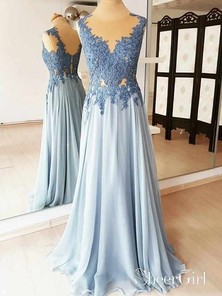 067e77cf0d77 Light blue lace appliqued beaded chiffon prom dresses. See through round  neck long formal dresses. Sleeveless cheap military ball gowns.