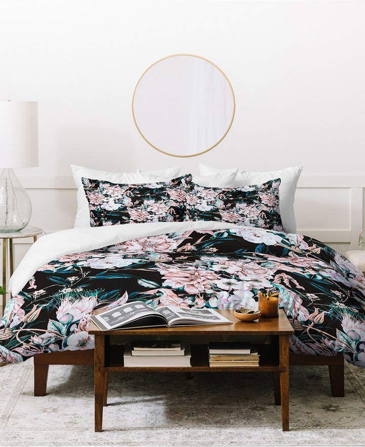 Deny Designs Marta Barragan Camarasa Dark Wild Pink Bloom Duvet Set Bedding Duvet Cover Sets Bedding Sets Duvet