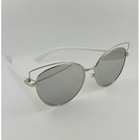 Cat Style vintage Woman Sunglasses silver white frame with silver mirror lens