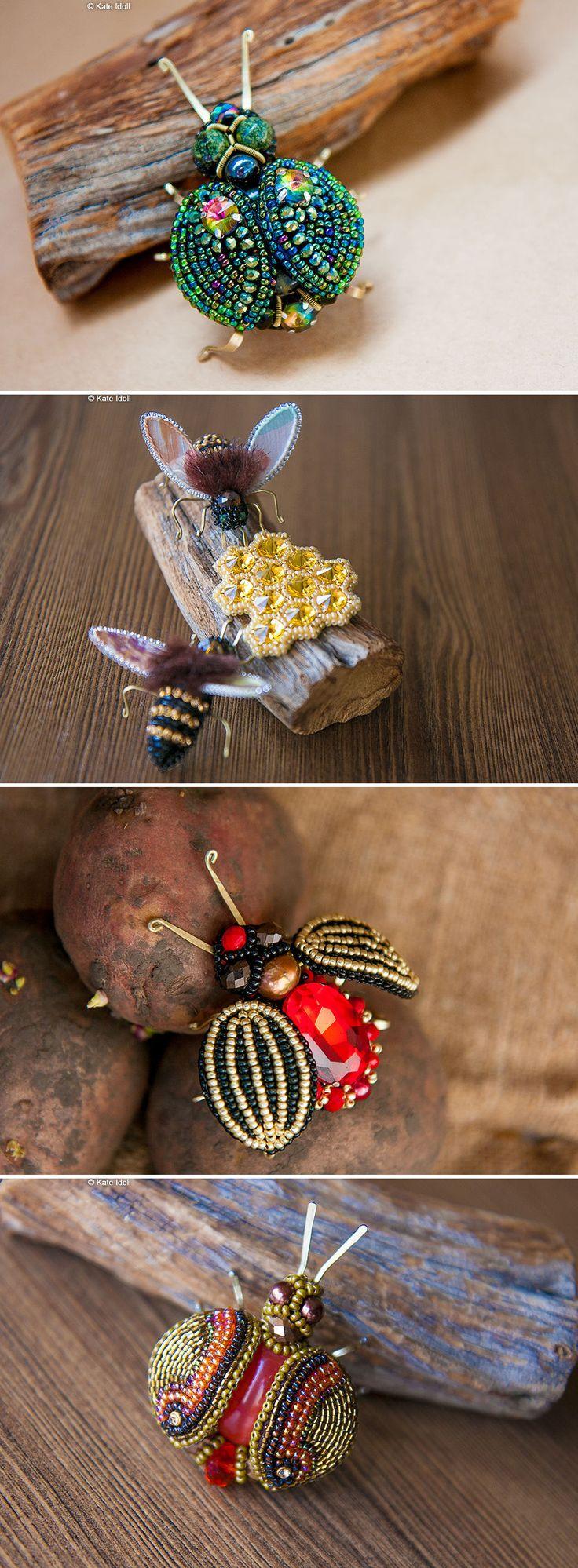 Beaded Insect Brooches | Броши в виде насекомых с натуральными камнями — Купить, заказать, бусины, брошь, брошка, насекомое, жук, пчела, камень, драгоценный камень, ручная работа
